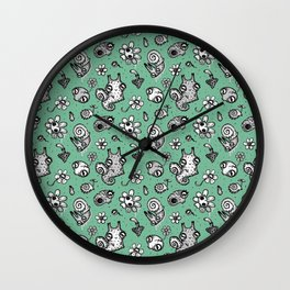 pattern with snail and scull Wall Clock