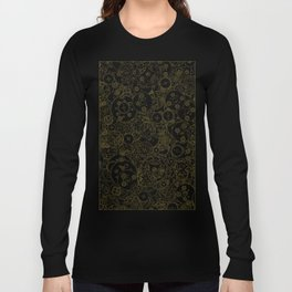 Clockwork Retro / Cogs and clockwork parts lineart pattern in brown and gold Long Sleeve T-shirt