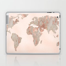 Rosegold Marble Map of the World Laptop & iPad Skin