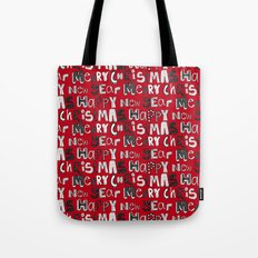 simple red merry christmas and happy new year Tote Bag