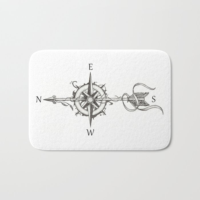 Compass With Arrow Tattoo Stule Bath Mat By Beatrizxe Society6