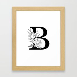 B botanical monogram. Letter initial with peonies Framed Art Print