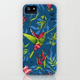 Hummingbirds and flowers. Blue pattern iPhone Case