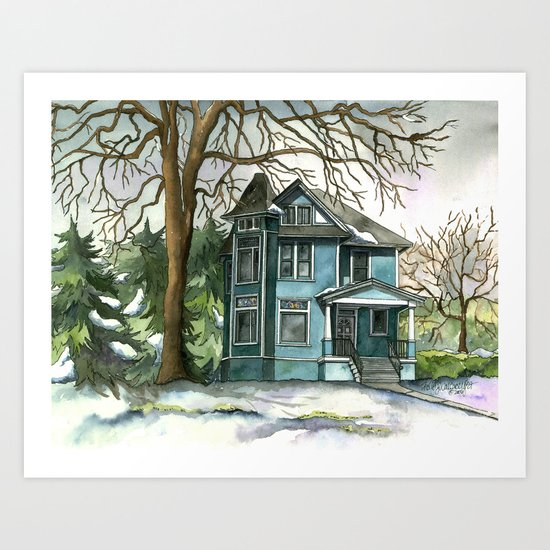 The House Under the Big Tree Art Print