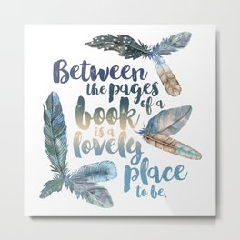 Between the Pages - Feathery White Metal Print