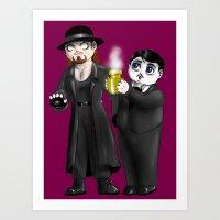 wwe Art Prints featuring Chibi WWE - Undertaker and Paul Bearer 1 by Furiarossa