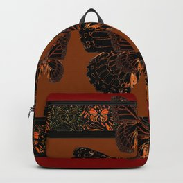 BLACK  MONARCH BUTTERFLIES,COFFEE BROWN-BURGUNDY ART Backpack