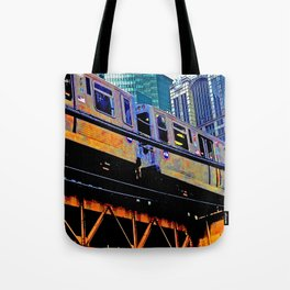 Chicago 'L' in multi color: Chicago photography - Chicago Elevated train Tote Bag