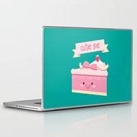 pie Laptop & iPad Skins featuring Cute pie by Alice Wieckowska