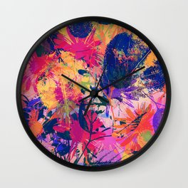 Colorful abstract leaves 2 Wall Clock