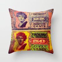 military Throw Pillows featuring WWII US Military Money by ADH Graphic Design