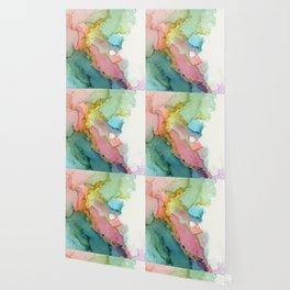 Lavender Lagoon Brass Waves Wallpaper