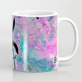 Artistic neon pink teal black watercolor classical music note Coffee Mug