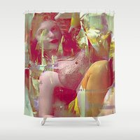 pin up Shower Curtains featuring Parisian Pin Up by Ganech joe