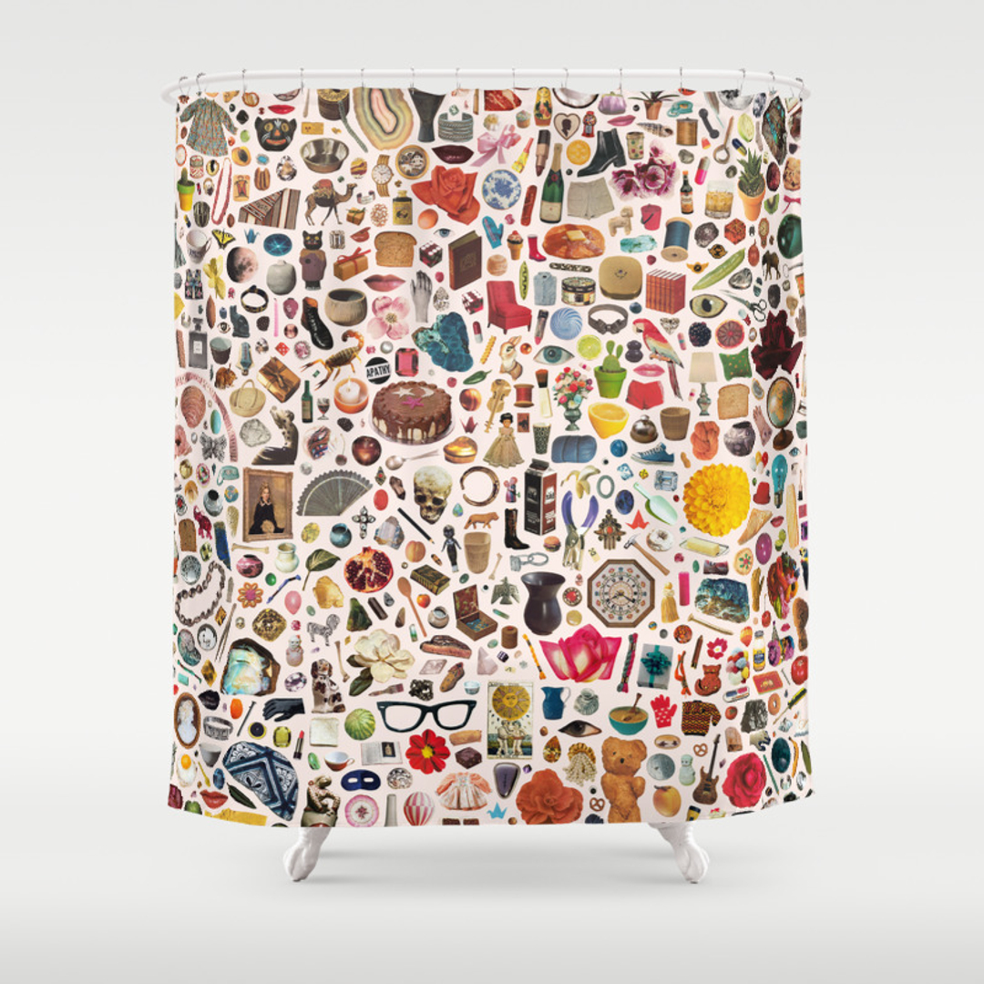 Food Pattern And Popart Shower Curtains Society - Chocolate coral and gold shower curtain