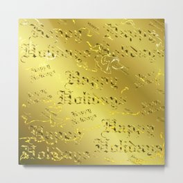 happy holiday Colorful design happy new year text in gold, festive, elegant gift Metal Print