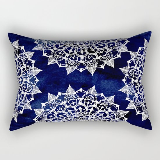 White Lace Medallion on Ink Blue Rectangular Pillow
