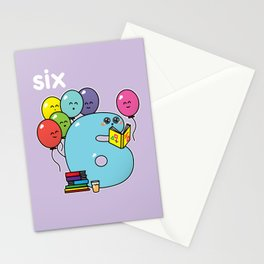 Number 6 birthday Stationery Cards