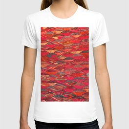 V35 Red Traditional Moroccan Artwork Pattern T-shirt