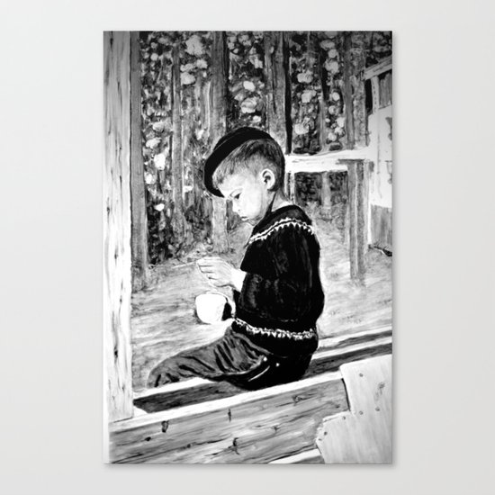 Little Boy With Coffee Cup Canvas Print