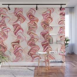 Abstract smoke tunnels, pink curvy shapes, texture design, crazy smoky print Wall Mural