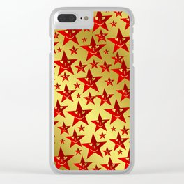 red, stars, face, laugh, smile, gold, pattern, colorful, christmas, motive, Clear iPhone Case