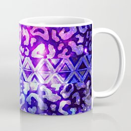 TRIBAL LEOPARD GALAXY Animal Print Aztec Native Pattern Geometric Purple Blue Ombre Space Galactic Coffee Mug