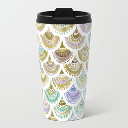 GOLDEN MERMACITA Watercolor Mermaid Scales Travel Mug
