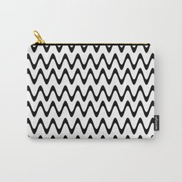 ZigZag Horizontal Black and White Stripes Carry-All Pouch
