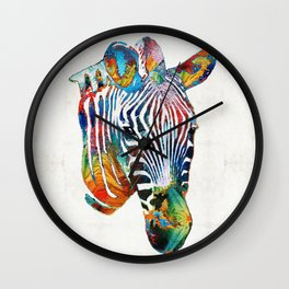 Colorful Zebra Face by Sharon Cummings Wall Clock