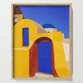 Blue Doors on a Yellow Wall - Santorini, Greece - Minimal, Romantic Travel Painting Serving Tray
