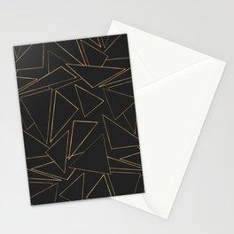 Minimalist Geometric Gold Black Strokes Triangles Stationery Cards