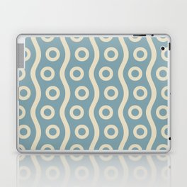 Mid Century Modern Rising Bubbles Pattern 2 Blue and Cream Laptop & iPad Skin