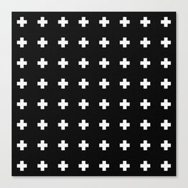 Small Swiss Cross Black Canvas Print