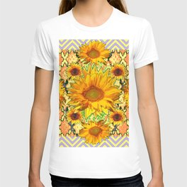 Western Style Lilac Color Golden Sunflowers Gold Pattern Art T-shirt