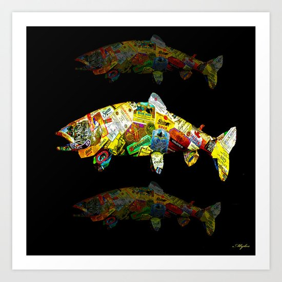 FATHER  LIKES FISH AND BOURBON POP ART Art Print