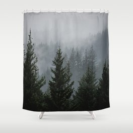 Forest Fog Mountain V - Wanderlust Nature Photography Shower Curtain