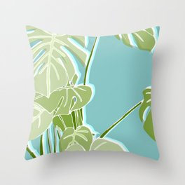 Block Printed Leaves Throw Pillow