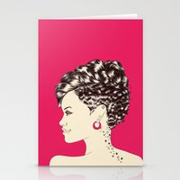 rihanna Stationery Cards featuring Rihanna by Chris Moran