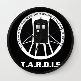 Agents of TARDIS black and white Agents of Shield, Doctor Who mash up Wall Clock