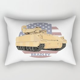 Bradley Fighting Vehicle with American Flag Rectangular Pillow