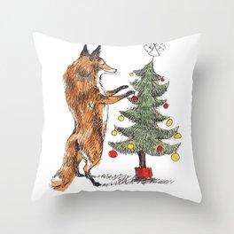 Christmas Fox Throw Pillow