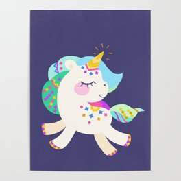 Cute unicorn with colorful mane and tail Poster