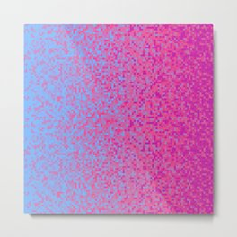 Indigo Lilac Purple Pixilated Gradient Metal Print