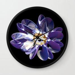 Blue & Gold Flower Wall Clock