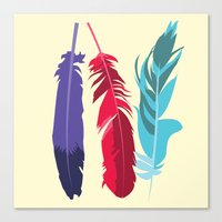 indie Canvas Prints featuring Indie Feathers  by Minette Wasserman