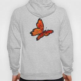 Orange Watercolor Butterfly Design Hoody