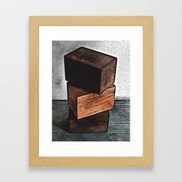 Three Wooden Boxes On Dresser Framed Art Print
