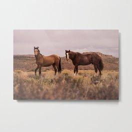 HORSES - BROWN - GRASS Metal Print