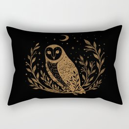Owl Moon - Gold Rectangular Pillow